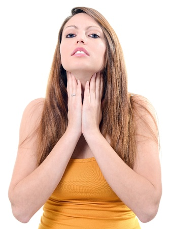 sore throat: Prett sore throat isolated on white background Stock Photo