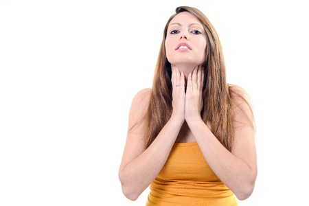angina: Prett Halsschmerzen isoliert auf wei�em Hintergrund