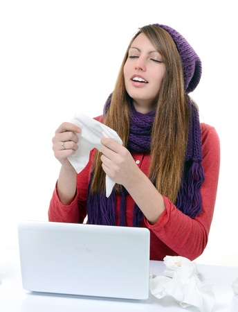 Sick Woman Flu Woman Caught Cold  Sneezing into handkerchief  Headache  Virus  Medicines photo