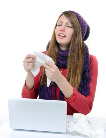 Sick Woman Flu Woman Caught Cold  Sneezing into handkerchief  Headache  Virus  Medicines