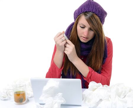 Sick Woman Flu Woman Caught Cold  Sneezing into handkerchief  Headache  Virus  Medicines photo