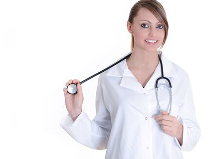 Pretty female doctor isolated over a white background photo
