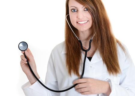 Pretty female doctor isolated over a white background Stock Photo - 17795632