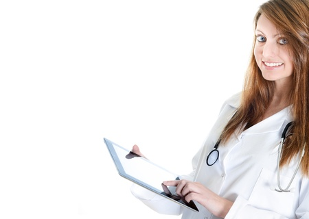 Pretty female student doctor working with an digital tablet Stock Photo - 17795258