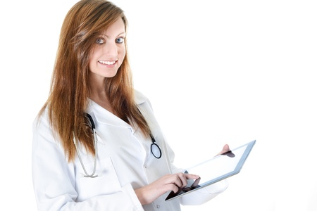Pretty female student doctor working with an digital tablet Stock Photo - 17795319