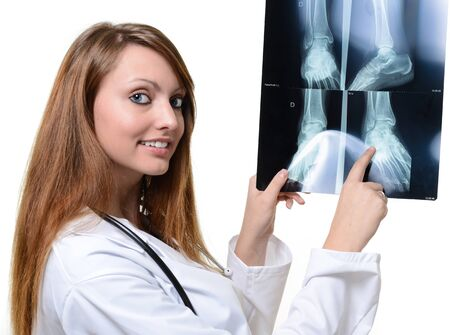 science tips: female doctor with x-ray in hand over a white background