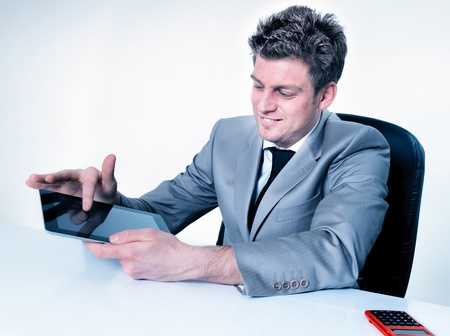 buisinessman: Buisinessman hands are pointing on touch screen device