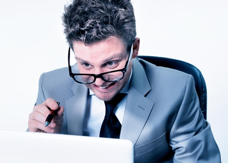 freak out: stressed manager at work Stock Photo