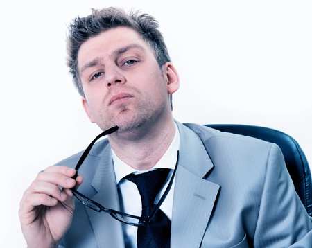 businessmann highly concentrated at office Stock Photo - 17796112