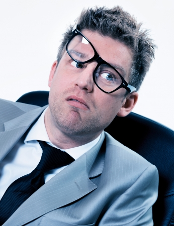 freak out: portrait of funny manager stressed at work
