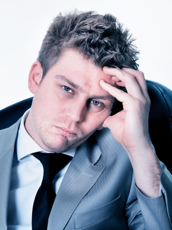 exerted: Portrait of  breakdown of businessman at the office Stock Photo