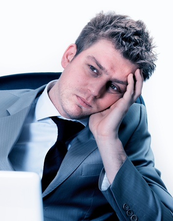 exerted: Portrait of exhausted businessman at the office