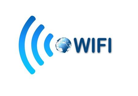 ワイヤレス wifi ネットワークの青いアイコン