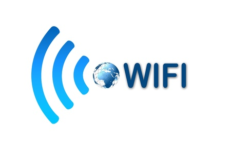 Wireless wifi network blue icon photo