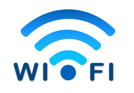 Wireless wifi network represented by a blue icon