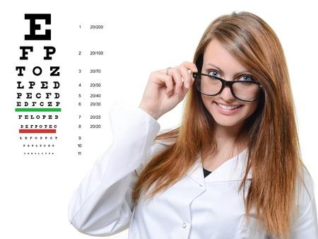 corrective: headshot of a beautiful smiling woman holding eyeglasses Stock Photo