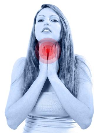 Prett dor de garganta isolado no fundo branco Imagens