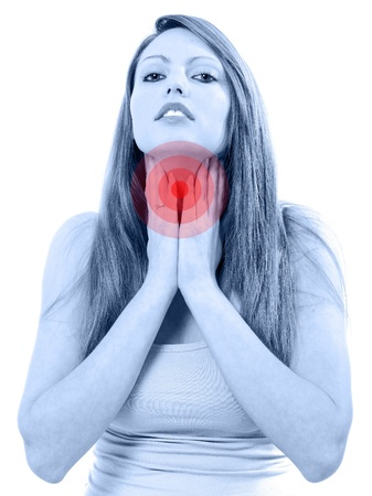 thyroid: Prett sore throat isolated on white background Stock Photo