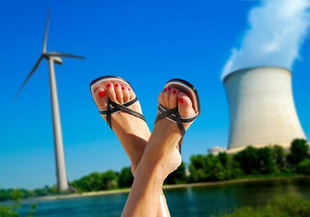npp: about wind against nuclear Stock Photo