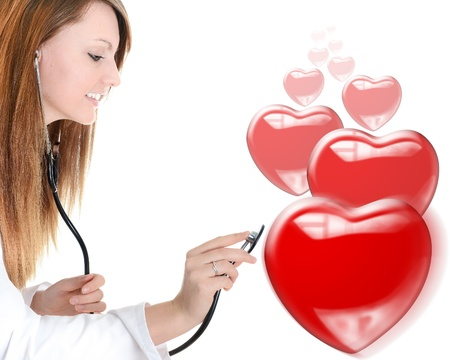 attractive cardiologist listening heartbeat isolated over a white background