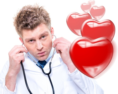 Portrait of cheerful doctor listening with a stethoscope  Isolated Stock Photo - 18125005
