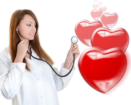 Portrait of cheerful doctor listening with a stethoscope  Isolated Stock Photo - 18125004