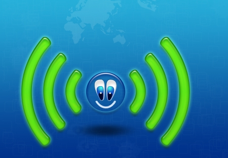 Wireless network with funny symbol wifi photo