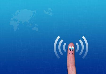 Wireless network wifi finger metaphor Stock Photo