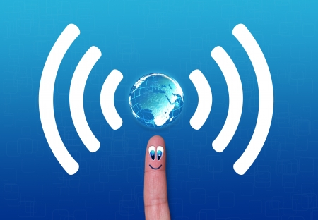 Wireless network white symbol wifi with earth on finger Stock Photo