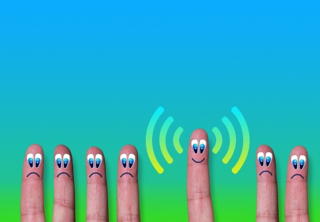 Wireless network wifi group of fingers metaphor