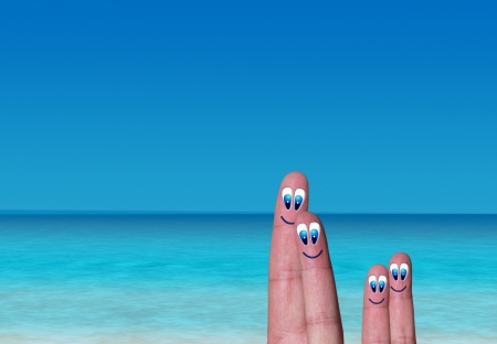 paradise vacation of fingerss family on beach photo