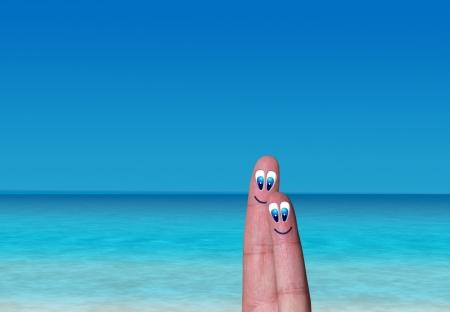 romantic couple of fingers on beach