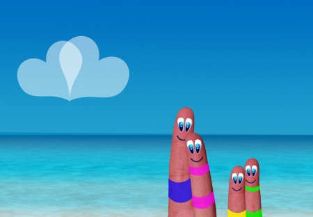 family of fingers  in a seaside paradise Banco de Imagens