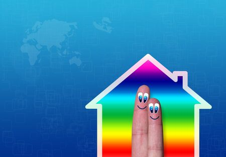 illustration of gradient house with couple of fingers inside illustration