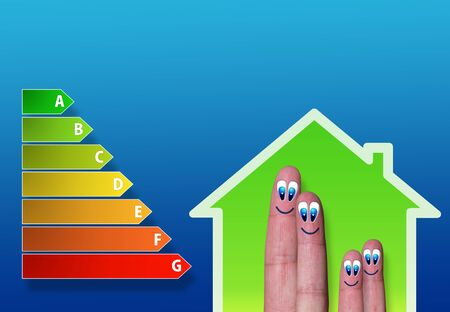 energy performance scale with low-power house and cute finger family inside photo
