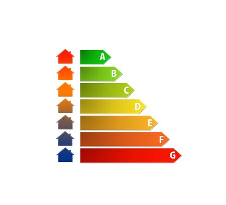 energy performance scale with house in color gradient Stock Photo - 18865084
