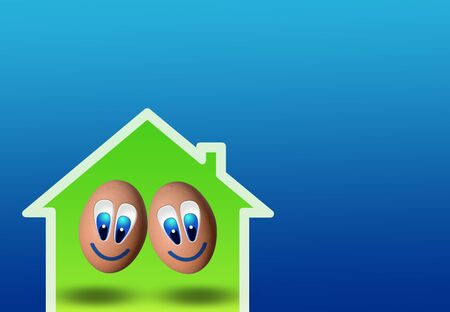 cute couple of eggs inside low-power house and blue background photo