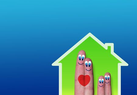 beetwen: low-power house with cute fingers family inside and heart beetwen parents