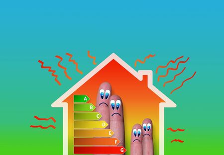 finger family house with bad energy classification on green background photo