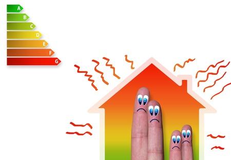 悪いエネルギー分類と熱損失と家族の家を指