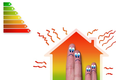 heat loss: finger family house with bad energy classification and heat loss Stock Photo