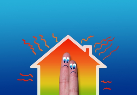 house with high heat loss illustration where two fingers inside on blue background