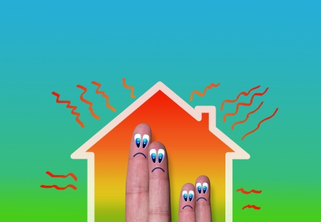 heat loss: house with high heat loss illustration where family finger inside  on green background