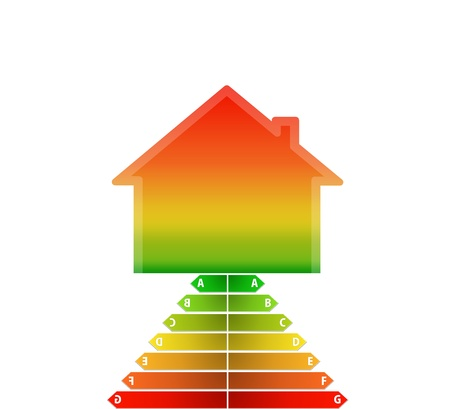aerated: illustration of house with gradient step of energy performance scale Stock Photo