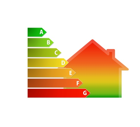 Ícone da casa gradiente e classificação de eficiência energética Imagens