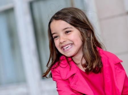 pretty little girl: Natural portrait of a happy pretty little girl Stock Photo