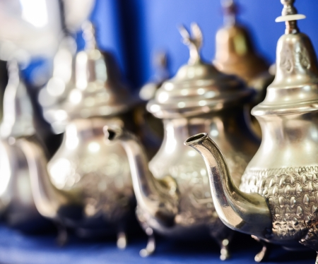 nana: Set of arabic nana mint tea with metal tea pot Stock Photo
