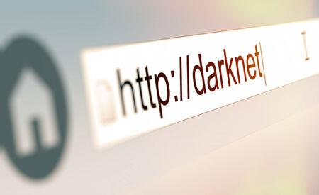 Close up da barra do navegador com url Darknet digitei