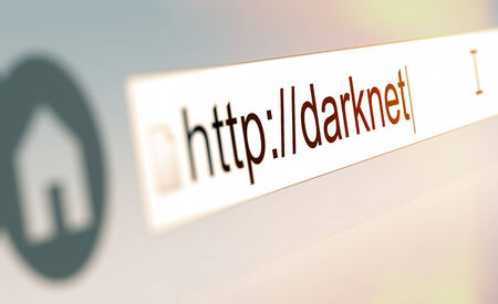 dissent: Closeup of browser bar with Darknet url typed in Stock Photo