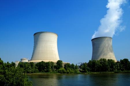 ソンム原子力発電プラントのウォーター フロント 写真素材